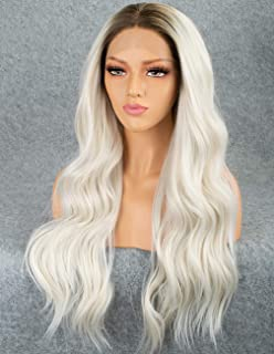 Persephone Ombre Platinum Blonde Lace Front Wig for Women Glueless White Wavy Synthetic Wig Long Wigs Middle Part Heat Resistant 22 Inches