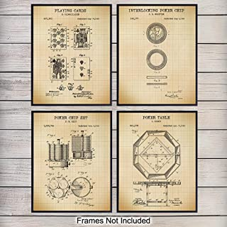 Poker Patent Wall Art Prints - Set of Four (8X10) Vintage Unframed Photos - Perfect Gift For Poker and Card Players, Cool Man Cave Home Decor