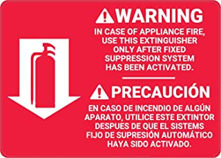 Safety Sign Wall Decal Vinyl Fire Extinguisher Instruction Warning Bilingual Spanish Waterproof for Indoor & Outdoor Use 10
