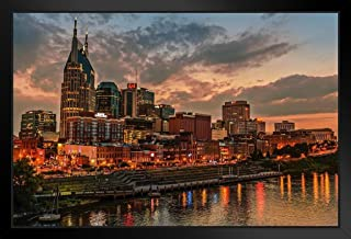 Nashville Tennessee Skyline Cumberland River Photo Black Wood Framed Art Poster 20x14