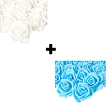Artificial Flowers Bundle with Light Blue and White Rose Heads (3 in, 200 Piece)