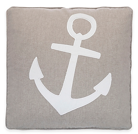 Provincetown Anchor Applique Square Throw Pillow in Grey - Bed Bath & Beyond