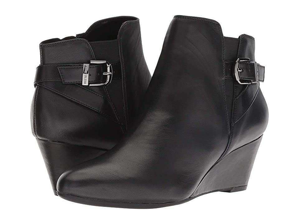 Anne Klein Admina Wedge Bootie (Black Leather) Women