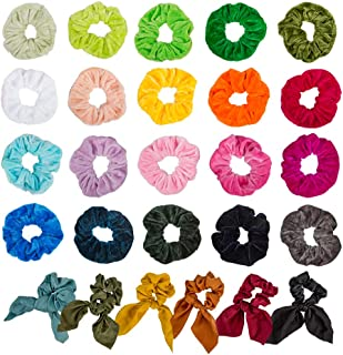 26 PCS Assorted Colors Women's Hair Elastic Hair Bands SourceTon 20 Colors of Velvet Elastic Hair Bands & 6 Colors of Chif...