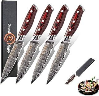 Couteau Jeu de couteaux de steak 4 pièces Boîte cadeau Gaine de protection VG10 Japonais Damas Couverts d'acier Ustensiles...