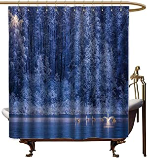 Godves Travel Shower Curtain,Winter Decor Swans Swims Lake Dusk Forest Dramatic Idyllic Nature ICY Snowy Weather Rural Scene,for Master, Kid's, Guest Bathroom,W108x72L,Blue