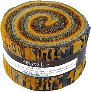 """Quilting Fabric Jelly Roll 20~2.5/"""" Fabric Strips Gold White Cream Floral Cotton"""