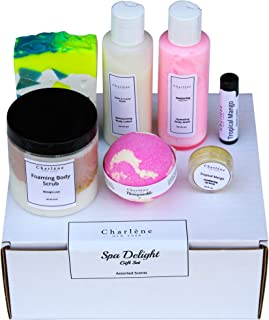 Charlene New York Spa Gift Set - Pampering Bath & Body Gifts For Women, Bridal Showers, Moms, Party Favors Teens, Kids - Assorted Scents - 7 Pack