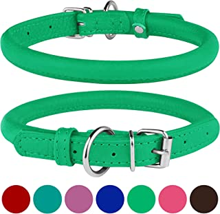 BRONZEDOG Rolled Leather Dog Collar Round Rope Pet Collars for Small Medium Large Dogs Puppy Cat Red Pink Blue Teal Brown Rose Green