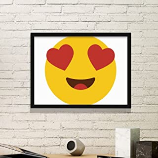 DIYthinker Adore Fiebre de Amor Amarillo Precioso en línea para chatear Emoji patrón ilustración Simple Marco Lindo Imagen de Cuadros de Pinturas casera de la Pared Pequeño Negro