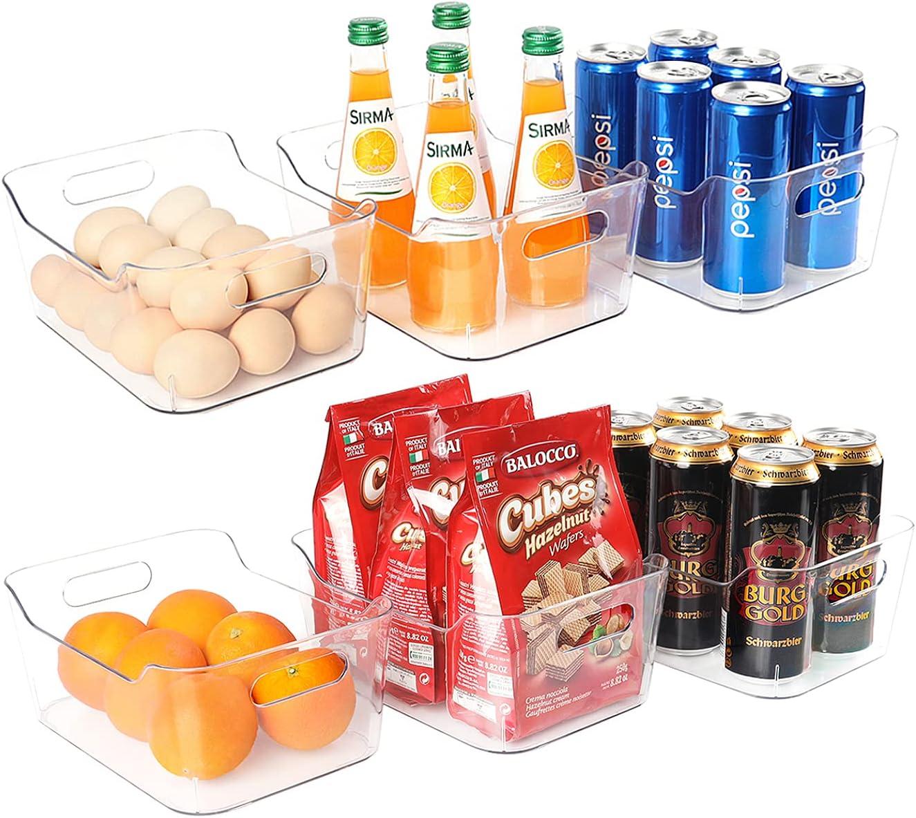 Set of 6 Refrigerator Organizer Bins, Pantry Organization and Storage, Clear Plastic Stackable Food Storage Bins with Handles, for Refrigerator, Freezer, Cabinet, Kitchen, BPA Free
