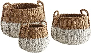 Seagrass Round Basket with Handle, Natural/White,