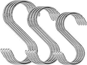 Hangende haken, 12 stuks roestvrij staal S-vormige hangende haken hangers voor familie keukengerei, badkamer, slaapkamer, ...