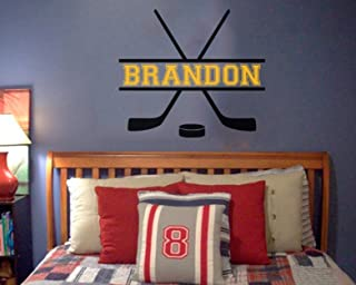 """Custom Name added to Hockey Vinyl Wall Decal - Hockey theme - Personalized Removable sticker perfect for above bed - Sports room 25"""" wide x 22"""" tall"""