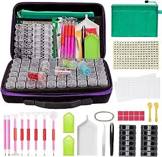 جعبه گلدوزی الماس 60 اسلات ، 142 عدد مجموعه ابزار نقاشی الماس 5D ، شیشه های ظرف ، صاف کننده ، موچین ، سینی ، کلیپ ها ، جعبه ها لوازم جانبی هنر الماس برای ذخیره سازی الماس DIY Art Craft