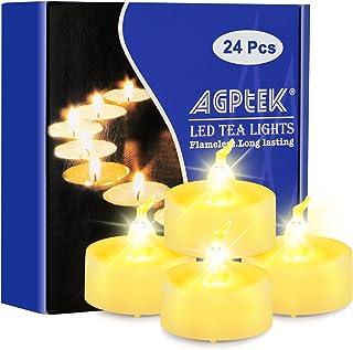 AGPtek 24 stycken LED värmeljus med timer, flimrande varmvit LED värmeljus med timerfunktion 6 timmar och 18 timmar, 24-pa...
