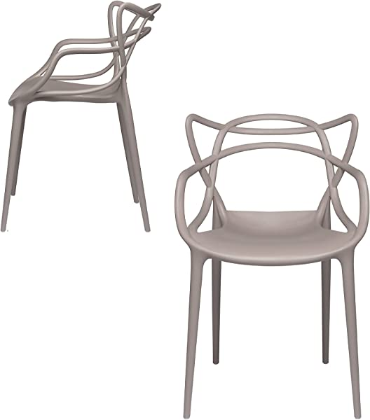 Set Of 2 Masters Entangled Chair Replica Modern Designer Armchairs For Dining Rooms Offices And Kitchens Grey