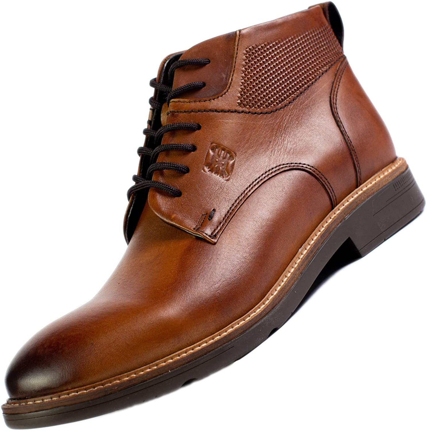 Amazon.com | SABATTER Mens Chukka Boots Taupe - Lace-Up Oxford Style  Genuine Leather Rounded Toe for Business or Casual with Built in Double  Flexion System Sole and Thermoconformed Memory Foam Insole -