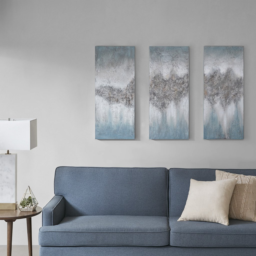 Amazon Com Madison Park Blue Embellished Hand Painted Luminous Wall Art Canvas 15 W X 35 H X 1 5 D 3 Wall Art