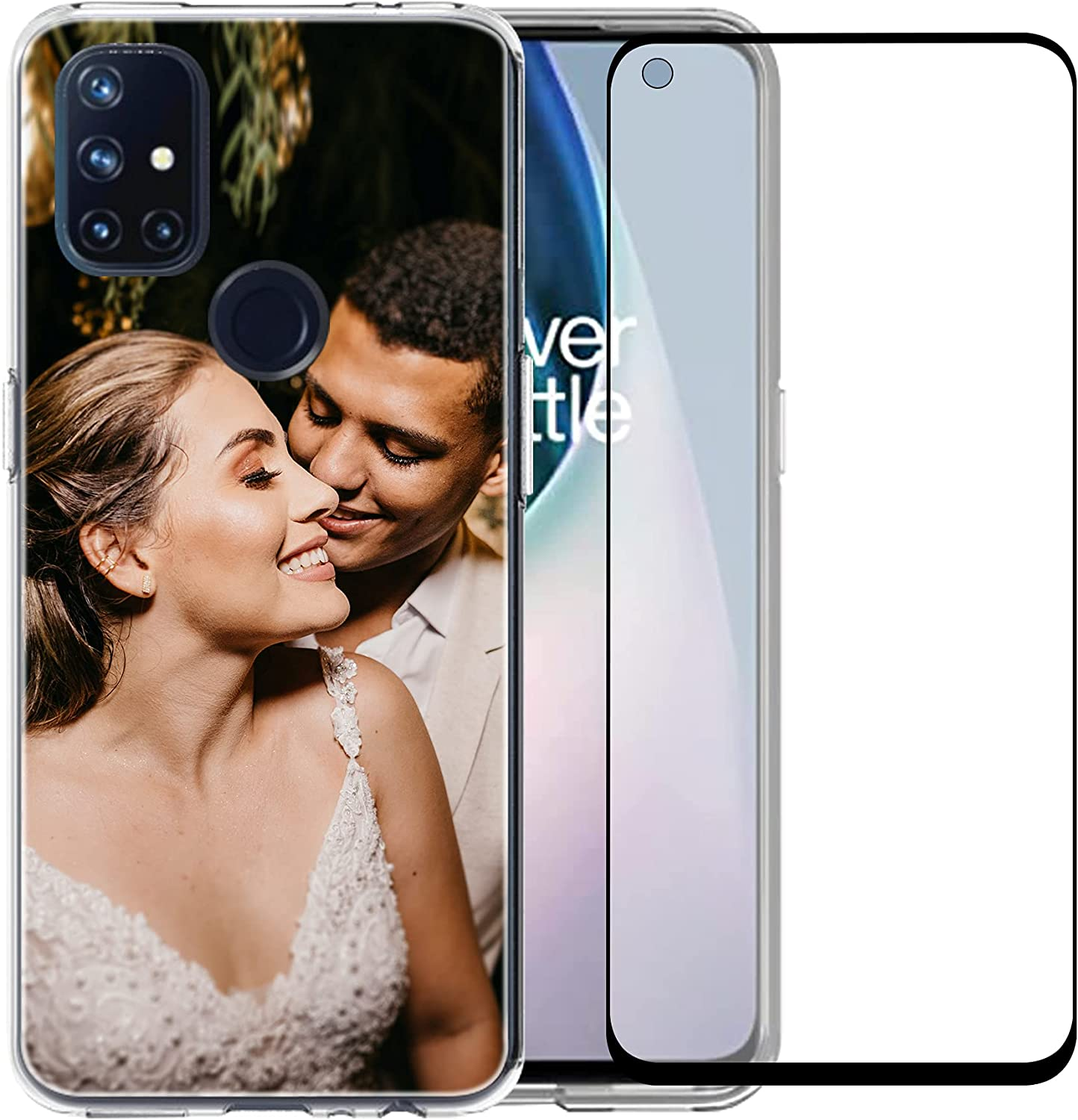 Custom Clear Case Compatible with OnePlus Nord N10 5G 6.49'' with Your Photo and Name Phone Case with 1 Pack Screen Protector for Ladies,for Girls,for Women,for Mother,for Men(Clear Layout 1 Pictures)