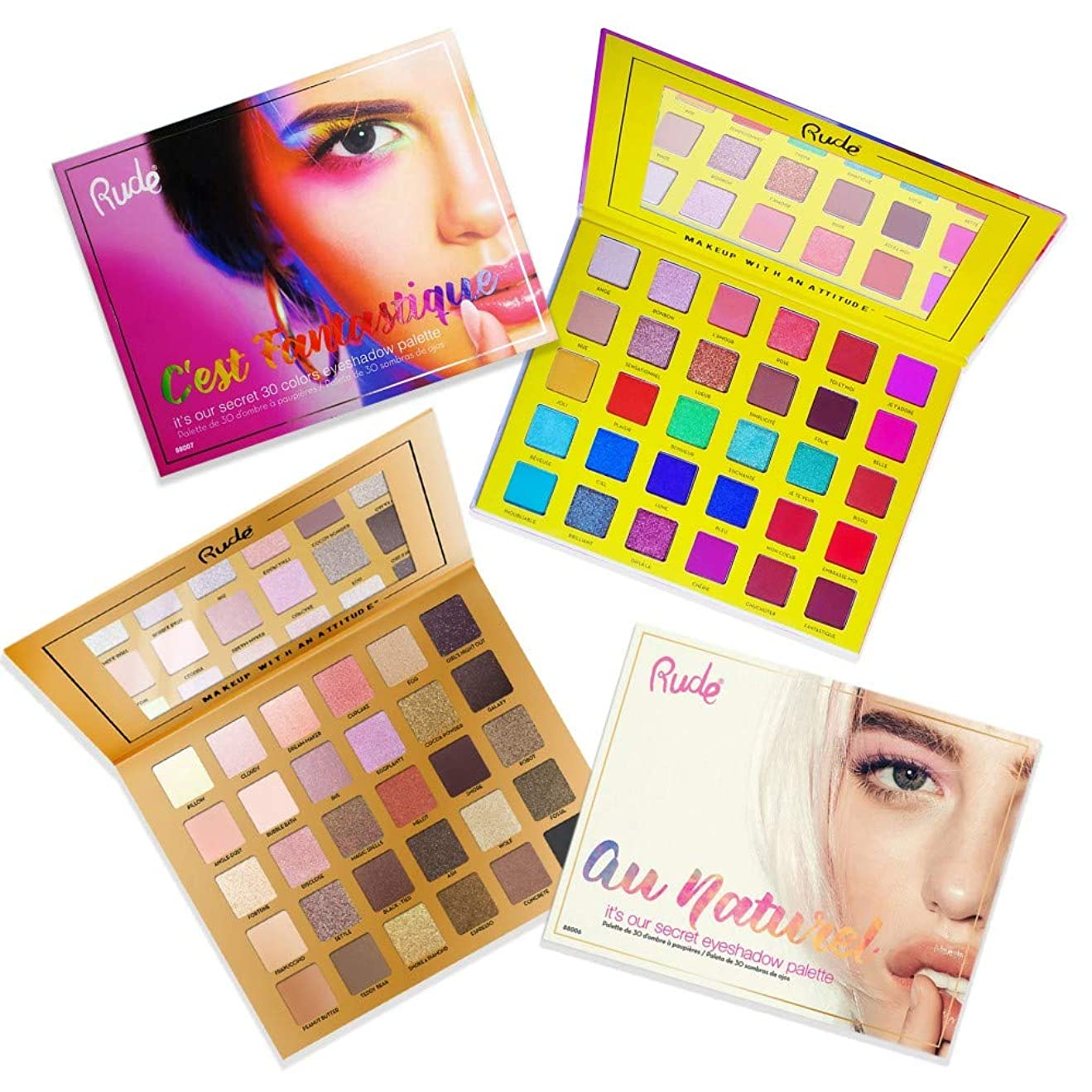 ハム代表する薄い(3 Pack) RUDE C'est Fantastique + Au Naturel Eyeshadow Palettes Bundle (並行輸入品)