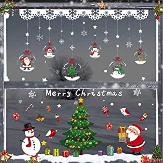 Christmas Window Decoration, Window Clings Decal with Christmas Tree, Snowflakes, Santa Claus, Snowman, Gift Boxes, Static Adhesive PVC Winter Stickers for Window Ceramic Stick Area Large to 100x110cm