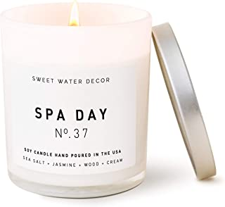 Sweet Water Decor Spa Day Candle   Sea Salt, Jasmine, and Wood Relaxing Scented Soy Wax Candle for Home   11oz White Glass Jar, 50 Hour Burn Time, Made in the USA