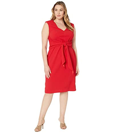 Adrianna Papell Plus Size Rio Knit Draped Tie Sheath Dress (Hot Tomato) Women