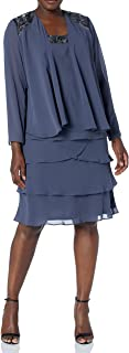 S.L. Fashions Women's Embellished Tiered Sequin Jacket Dress (Petite and Regular)