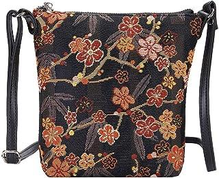 Signare Tapestry Small Crossbody Bag Sling Bag for Women with Ume Sakura Design Japanese Style