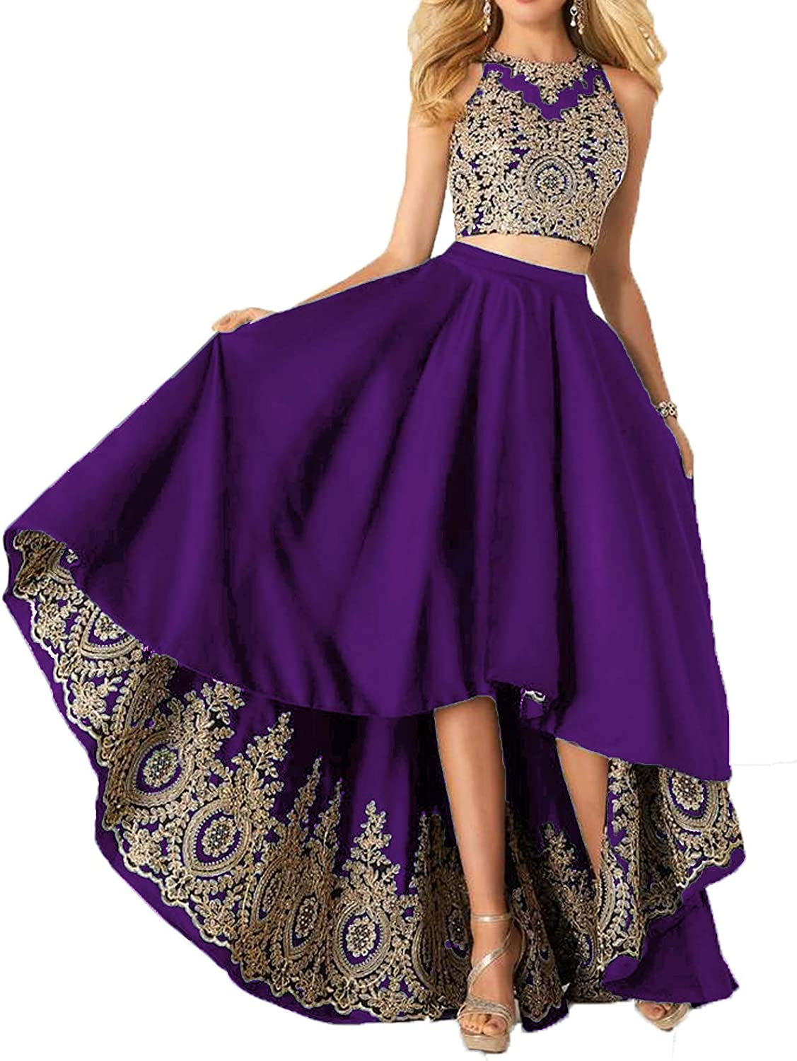Udresses Two Piece Homecoming Satin Dress Aline Applique Lace Formal Prom Gowns