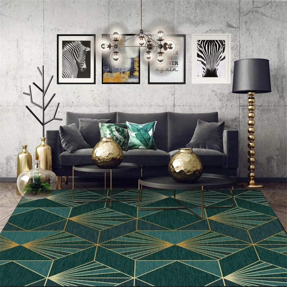 Modern Floor Carpet For Living Room Emerald Luxurious Anti Slip Geometric Area Rug For Bedroom Home Decor Dark Green Golden A 63x91inch 160x230cm Amazon Co Uk Kitchen Home