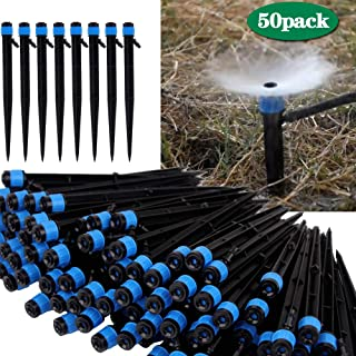 Lhx Irrigation Drippers Drip Emitters Plastic Micro Spray Adjustable 360 Degree Sprayer Vegetable Garden Patio Lawn (50 pcs) (Blue 01)