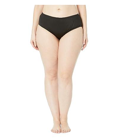 24th & Ocean Plus Size Solids Mid Waist Pant Bottoms (Black) Women