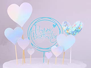 Restards Cake Topper, Handmade Blue Heart Series Birthday Cake Toppers Reusable Cupcake Toppers Set for Party Decoration Birthday Party Baby Shower Wedding