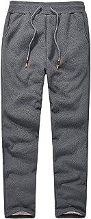 Flygo Mens Warm Fleece Pants Sherpa Lined Sweatpants Winter Active Track Joggers Pants