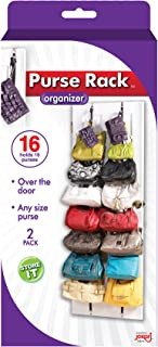 Purse Rack, 8 Hooks Over the Door Closet Organizer for Bags & Handbags, Best Bag Holder Storage for Purses, Crossover System & Hook for Each Bag, Organization System Fits all Standard Doors (1pk)