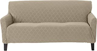 Great Bay Home Plush Geometric Jacquard Fabric Slipcover. Form Fit, Stretch Furniture Cover/Protector, Stays in Place. Soroya Collection (Sofa, Silver Cloud)