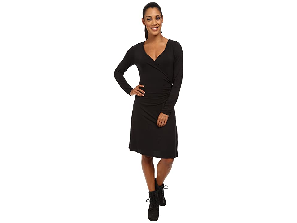 Prana Nadia Long Sleeve Dress (Black) Women
