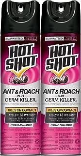 Hot Shot Ant & Roach Plus Germ Killer, Fresh Floral Scent Aerosol, 2/17.5-Ounce