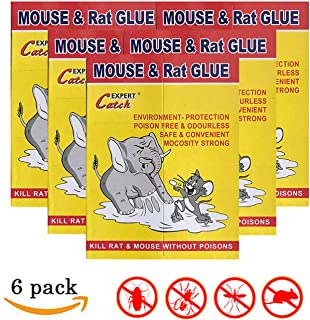 Catch Mouse Glue Traps, 6 Pack Mouse Rat Glue Traps, New Version Strongly Adhesive, Mouse Traps Glue Boards for Mice CockRoach Ant Spider, Yellow.