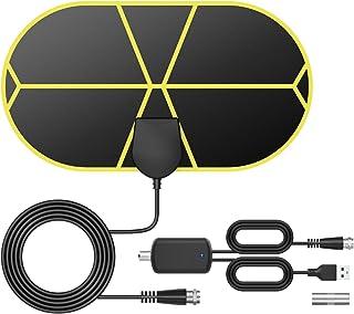 TICTID Antena TV Interior[Nueva versión 2020], Antena TV Portátil HDTV Digital con Amplificador de Señal Inteligente, Soporte 4K 1080 HD/VHF/UHF, Apto para Todos los Tipos de TV