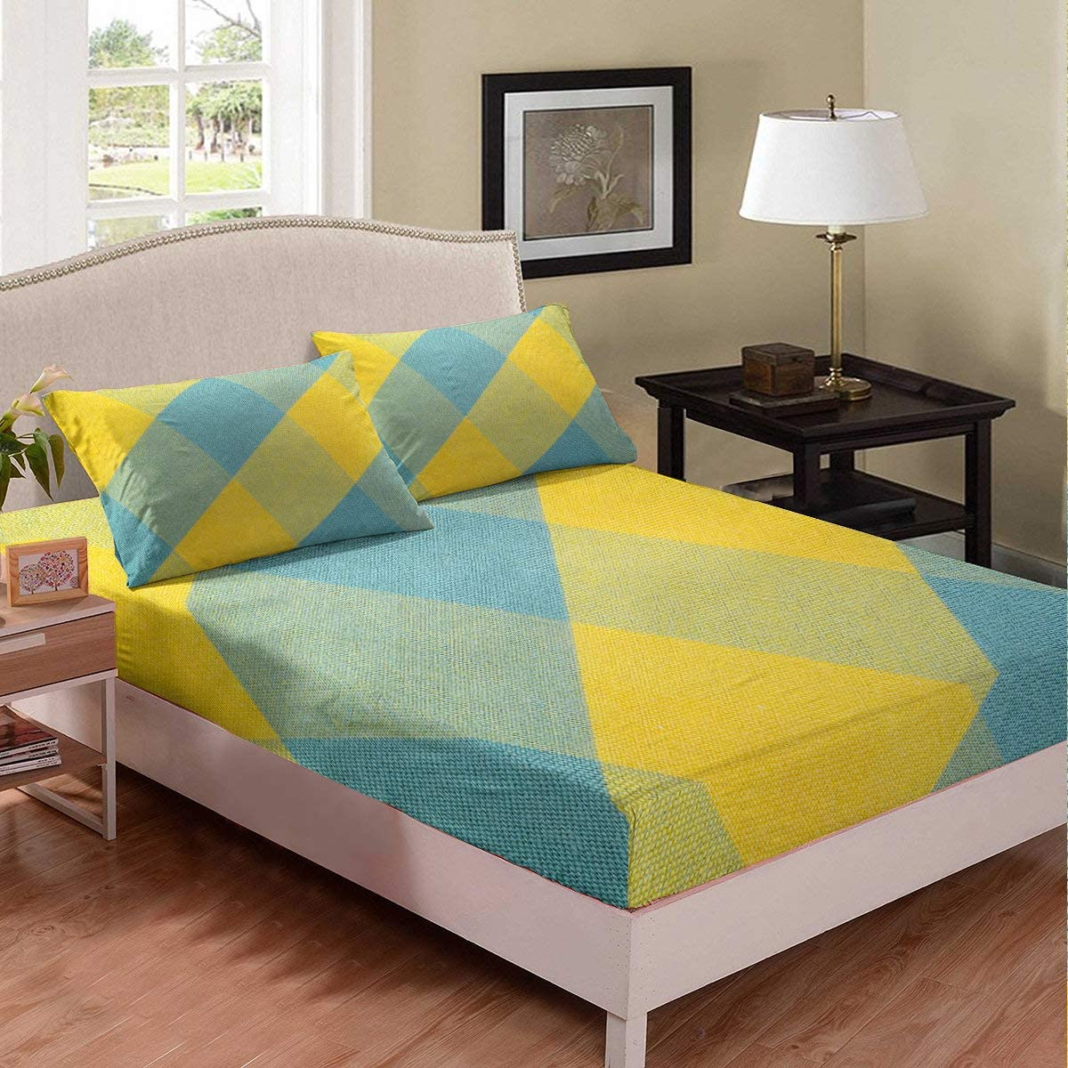 Geometric Fitted Sheet Diamond Pattern Sheet Set Teal Yellow Stain Resistant Bedding Set For Kids Teens Boys Girls Cozy Lightweight Bedroom Decor Full Size 1 Fitted Sheet With 2 Pillow Cases