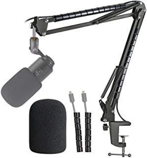 Microphone (K670 670B) Boom Arm Mic Stand, Windscreen and Cable Sleeve Compatible with Fifine K670 670B USB Podcast Microp...