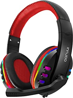 InnJoo Professional Gaming Headphones with RGB LED Lighting - Super Bass Drivers and Enhanced Sound Software - Noise Cance...