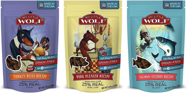 My Little Wolf Grain Free Dog Treatus 3 Flavor Bundle, (1) Ognuna: Tur a Bliss, SalmonLicious, Pork Pleaser 5.29 Ouces