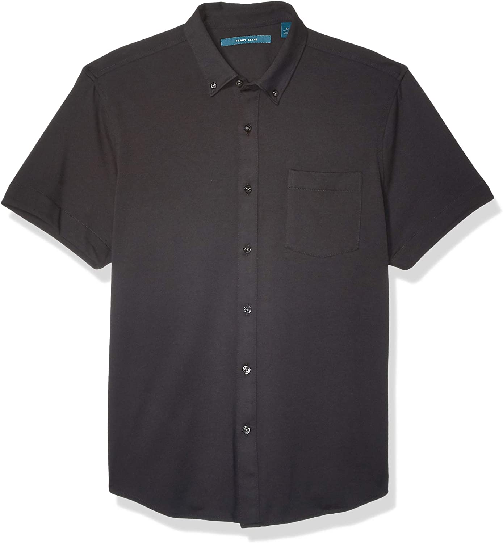 Perry Ellis Men's Solid Knit Oxford Short Sleeve Shirt
