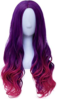 Gamora Costume Wigs for Women Girls Long Wavy Purple Hair Wig Cosplay Party Wigs for Halloween P066PR