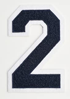 Varsity Number Patches - Dark Navy Blue Embroidered Chenille Letterman Patch - 4 1/2 inch Iron-On Numbers (Navy Blue, Number 2 Patch)