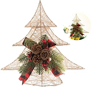 QILICHZ Gold Christmas Tree Topper Pine Tree Topper Glittered Christmas Tree TopperHollow Christmas Tree Ornament with Red Berry Pine Cones and Pine Needles for Christmas Decoration